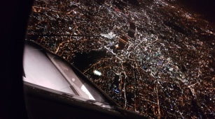 Flying over London at night